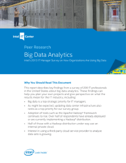 Intel Big Data Analytics Peer Research 2013